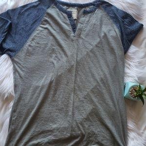 Alpha Beta Gray Blue Navy Henley T Shirt